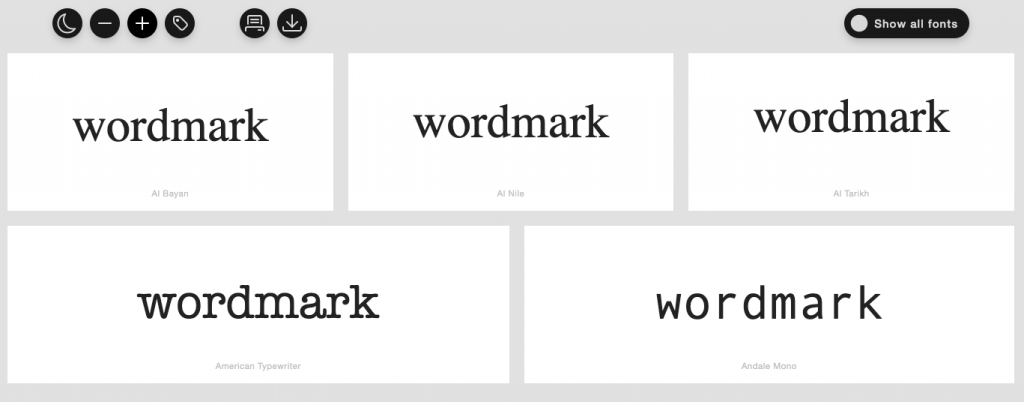 wordmark filtered fonts