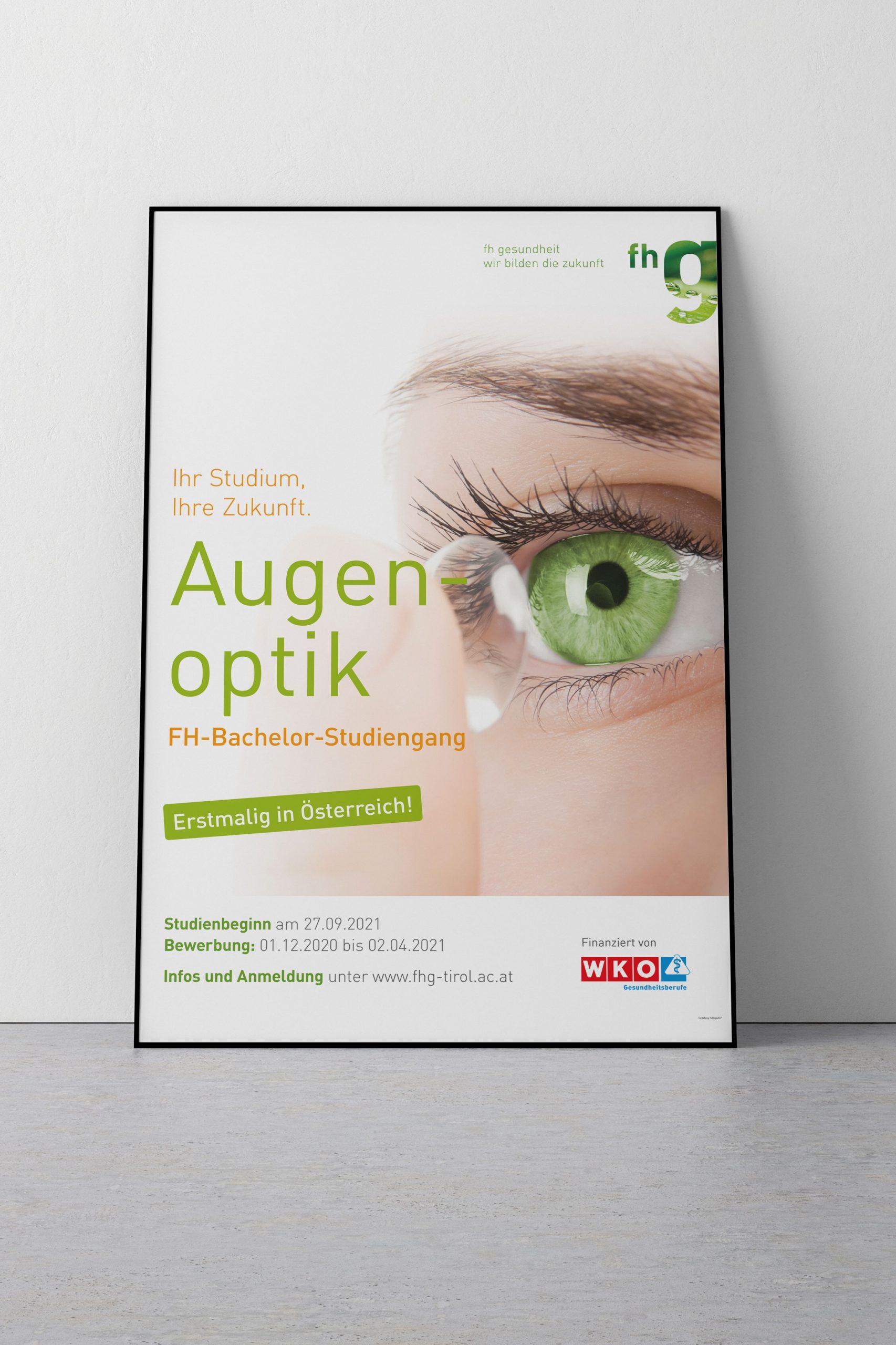 Plakat für fhg Studiengang Augenoptik