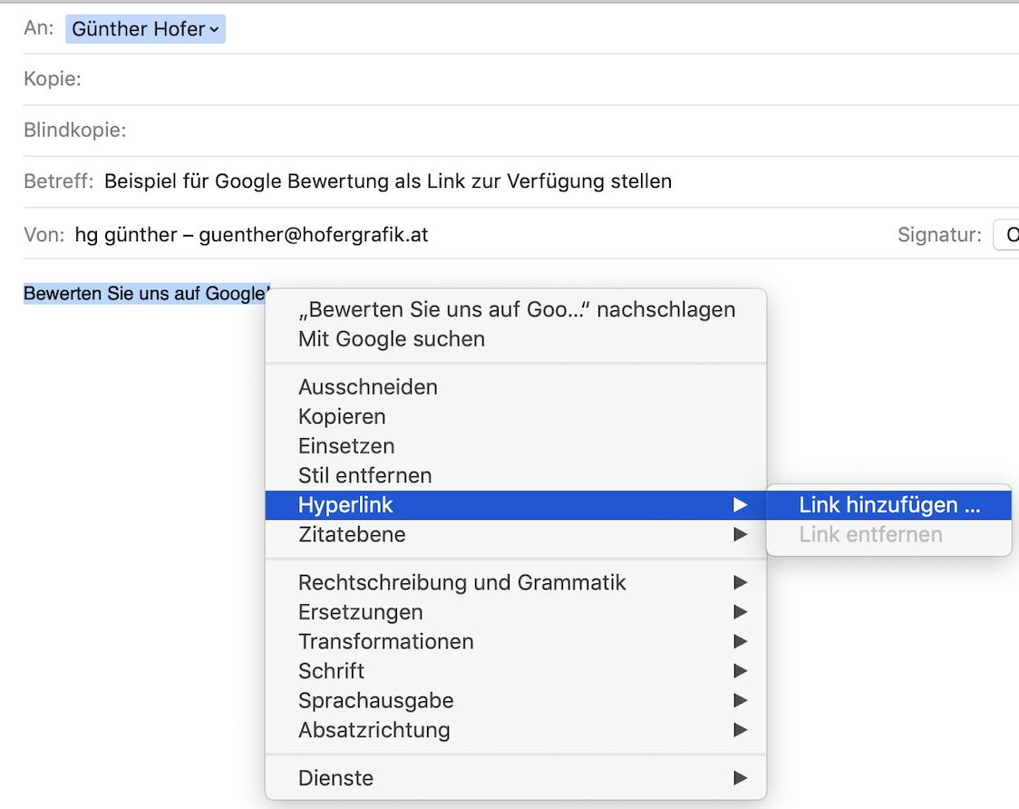 Screenshot von Mail für Darstellung, wie ein Hyperlink auf einen Text angewendet wird.